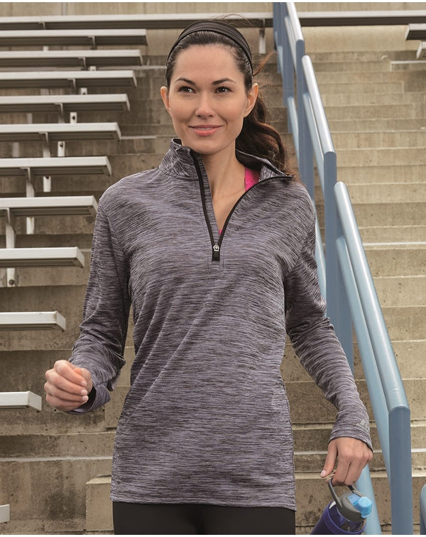 Women's Striated Quarter-Zip Pullover-Russell Athletic-Pacific Brandwear