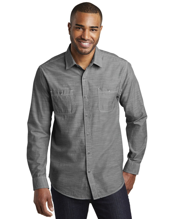 Port Authority® Slub Chambray Shirt-Port Authority-Pacific Brandwear