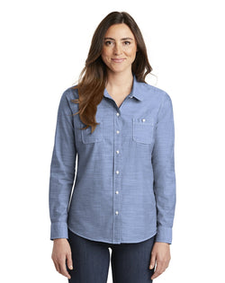 Port Authority® Ladies Slub Chambray Shirt-Port Authority-Pacific Brandwear