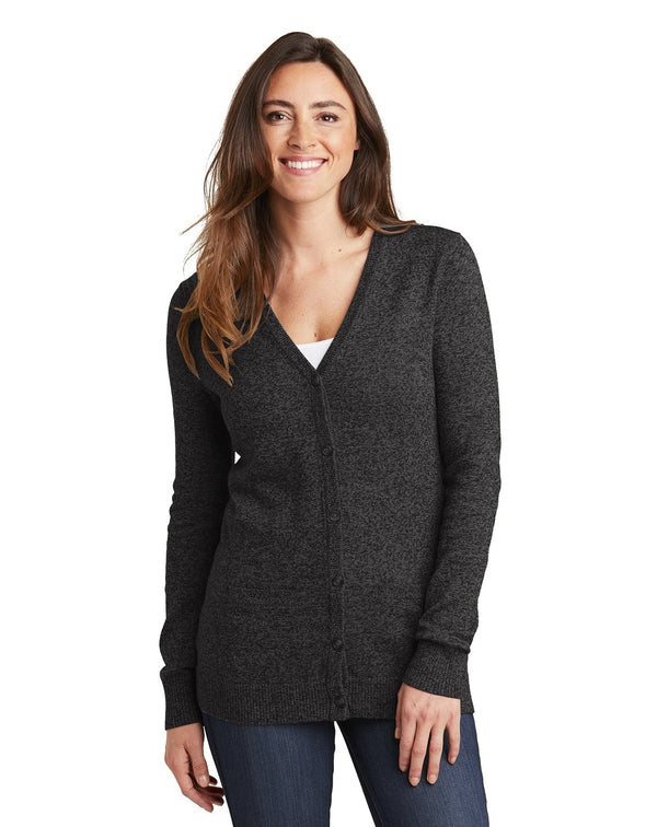 Port Authority ®Ladies Marled Cardigan Sweater-Port Authority-Pacific Brandwear