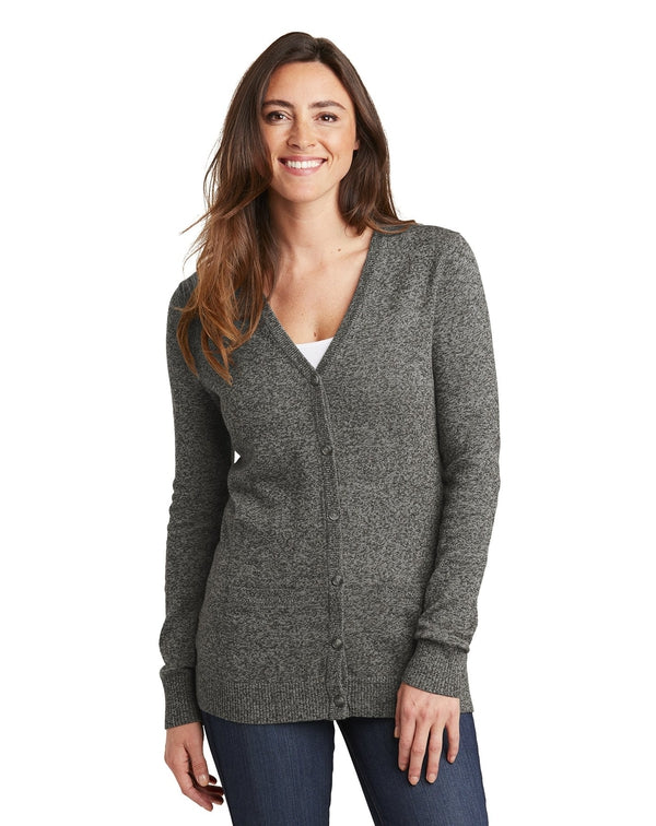 Port Authority® Ladies Marled Cardigan Sweater-Port Authority-Pacific Brandwear