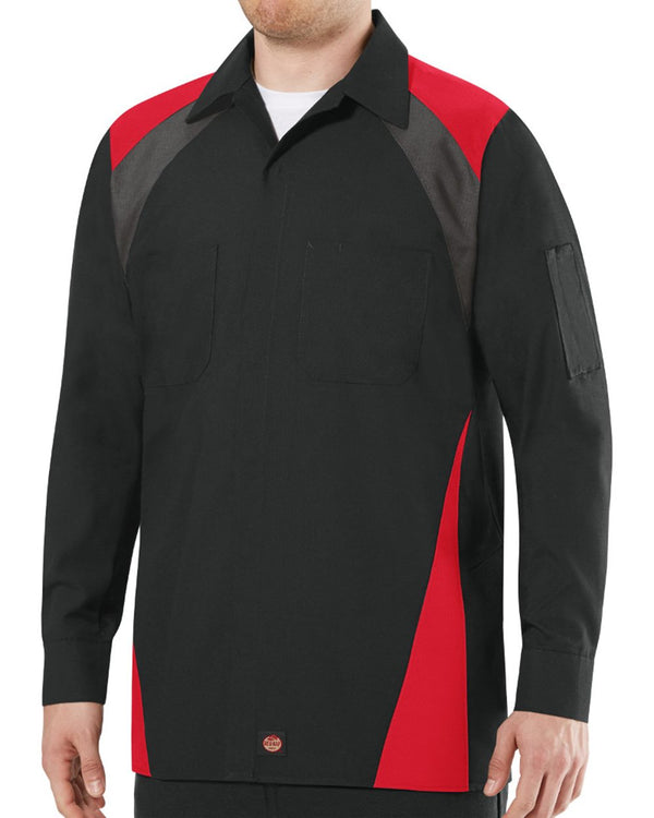 Long sleeve Tri-Color Shop Shirt-Red Kap-Pacific Brandwear