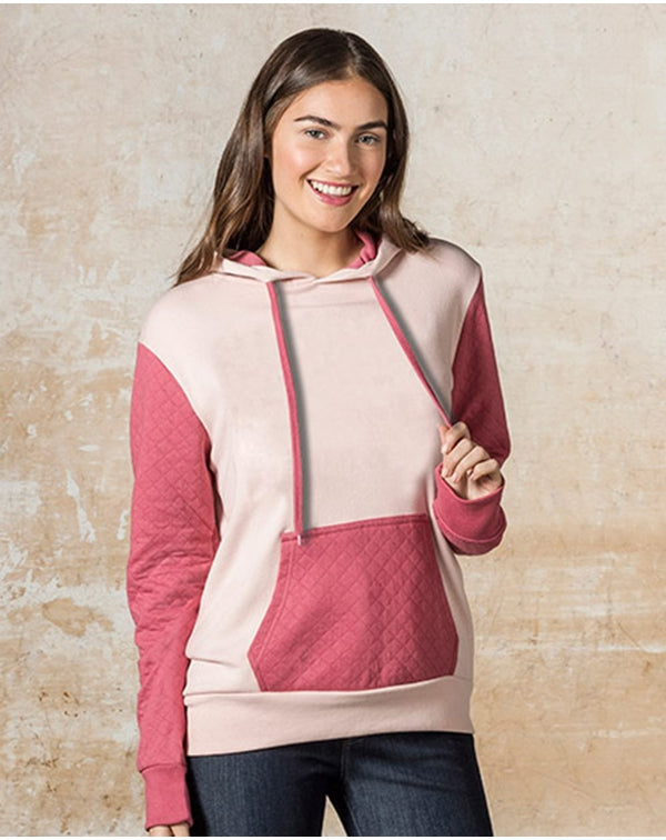 Women's Cloud Fleece Quilted Hooded SweatShirt-MV Sport-Pacific Brandwear