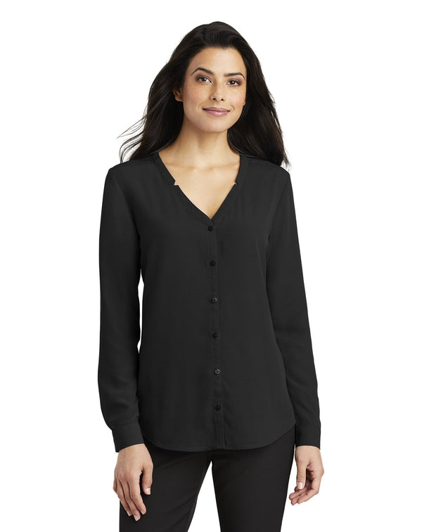Port Authority® Ladies Long Sleeve Button-Front Blouse-Port Authority-Pacific Brandwear