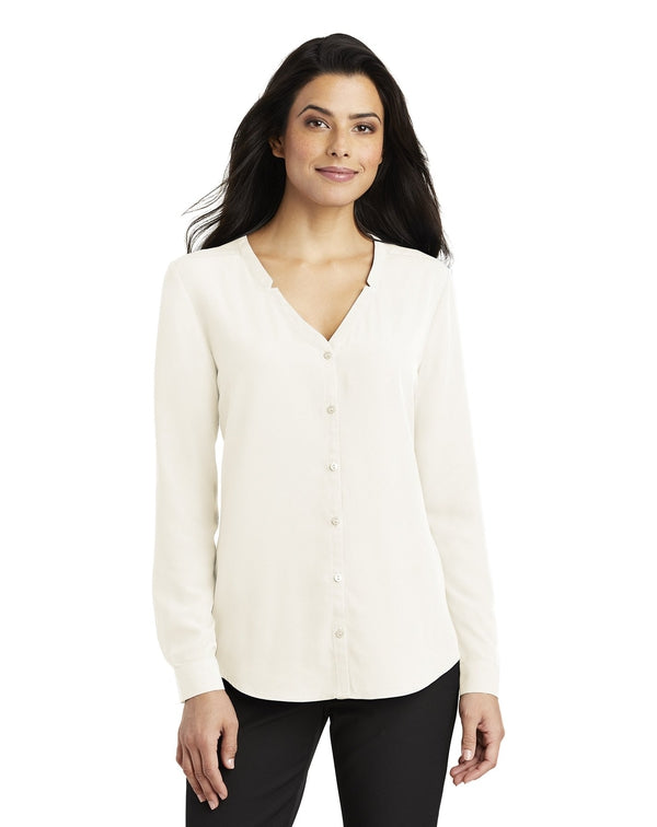 Port Authority ®Ladies Long Sleeve Button-Front Blouse-Port Authority-Pacific Brandwear