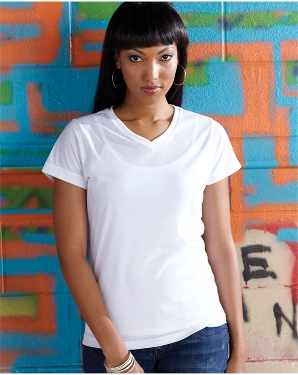 Women's V-Neck Polyester Sublimation Tee-SubliVie-Pacific Brandwear