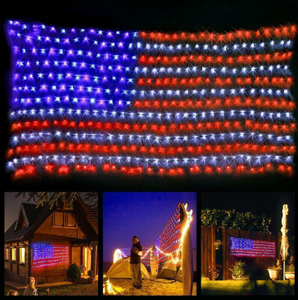 American Flag 420 LED String Lights Large USA Flag Outdoor Lights Waterproof Hanging Ornaments for Independence Day,Memorial Day