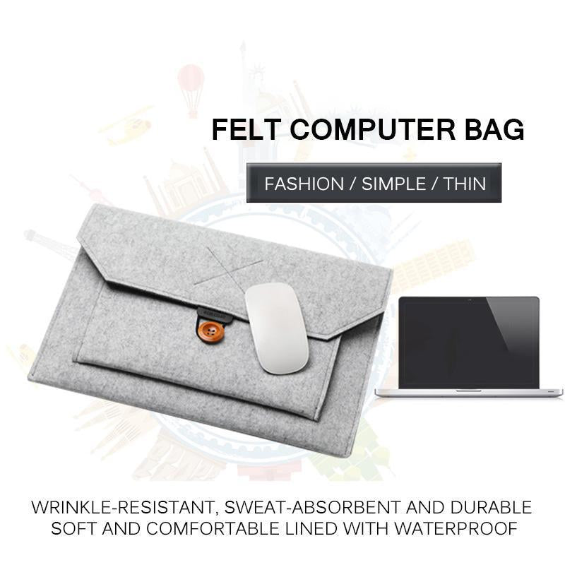 Fashion Wool Felt Laptop Sleeve Bag Handbag Case