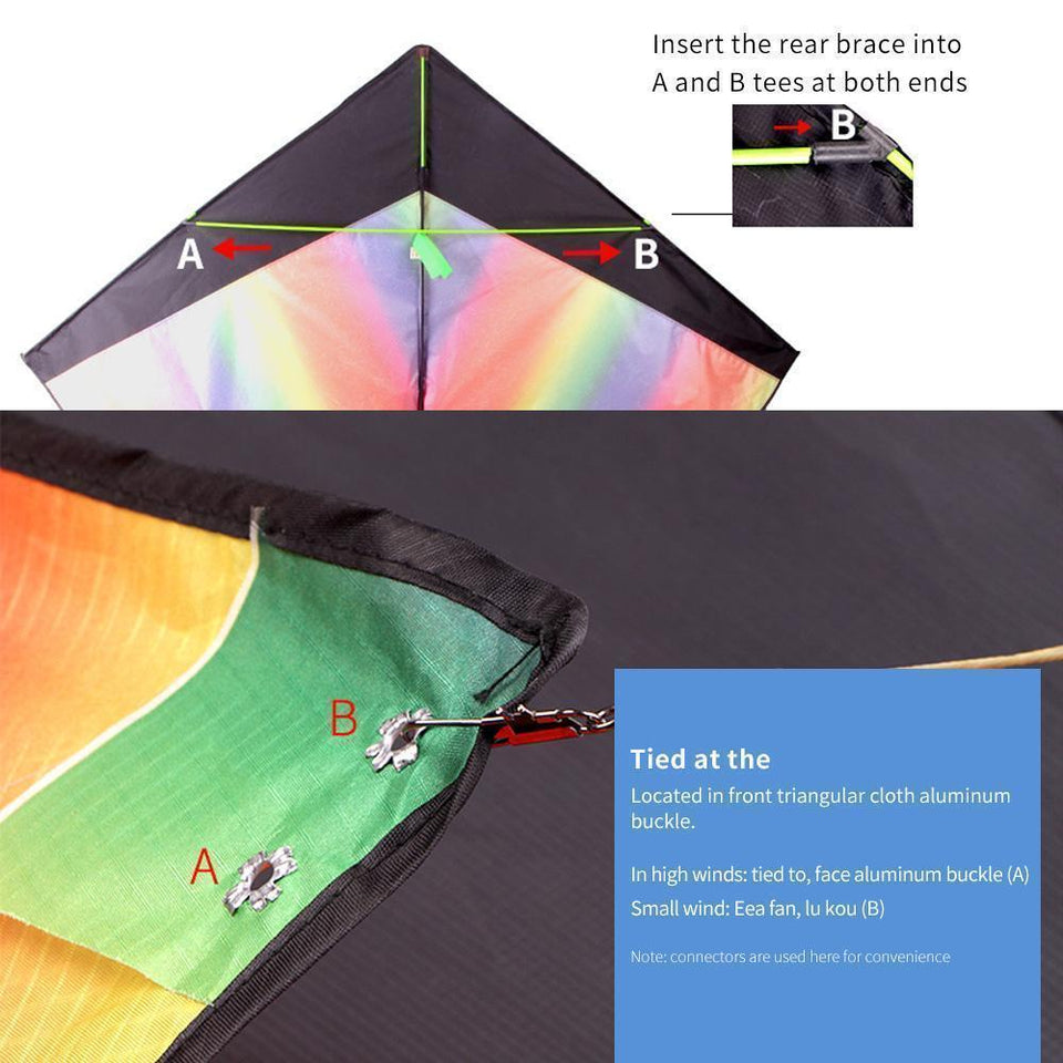 Large Rainbow Delta Kite Easy To Fly Outdoor Games And Activities