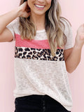 Casual Patchwork Leopard Fit Short Sleeve T-shirt