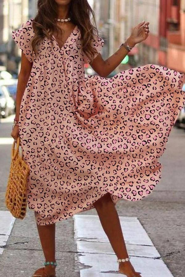 Casual Print Short Sleeves V Neck Midi Dress
