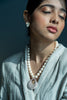 Pearl Necklace with Clustered Diamonds Pendant