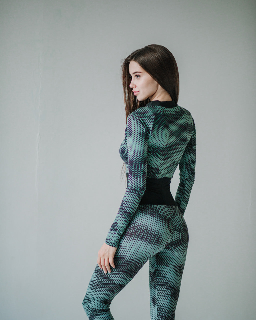 One-piece Bodysuit Iguana Print Long Sleeve - KSUFIT Activewear
