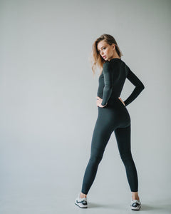 One-piece Bodysuit Element Black Long Sleeve - KSUFIT Activewear