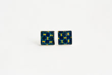 Load image into Gallery viewer, Aretes Cuadrados Azulejo Amarillo y Azul