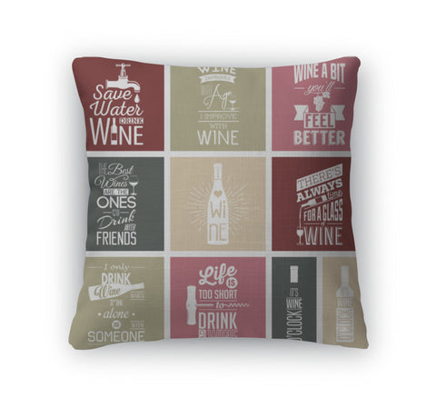 Throw Pillow, Set Of Vintage Wine Typographic Quotes