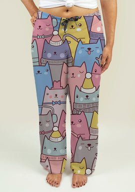 Ladies Pajama Pants with Cats at Christmas