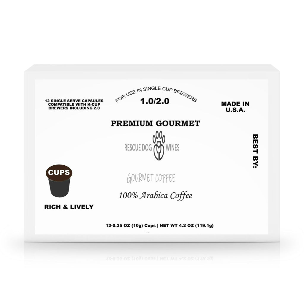 12 ct RDW Original Roast - Single Serve Coffee Capsules Gourmet Coffee Rescue Dog Wines 12 Pack