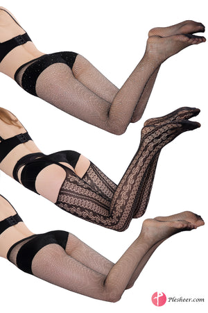 Black Sexy Thigh High Fishnet Rhinestone Stockings Women Tights Pantyhose