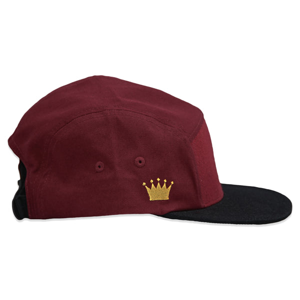 Velcro 5 Panel Cap in Burgundy (includes 1 x Velcro Patch)