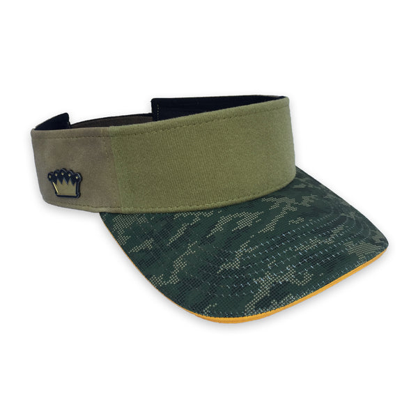 Velcro Visor Cap in Olive Suede & Camo (includes 1 x Velcro Patch) #capbuilder