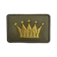 Crown Logo Olive Suede Velcro Patch (CapSlap)