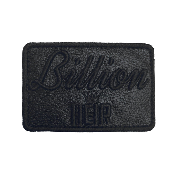 Billion Heir Script Black Leather Velcro Patch (CapSlap)