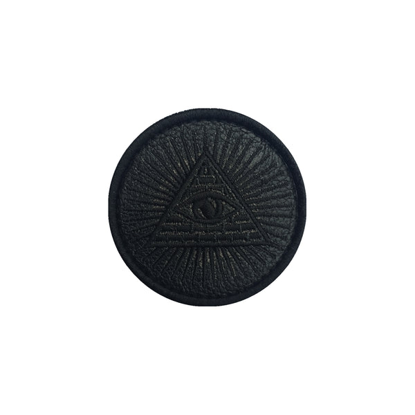Illuminati Black Leather Velcro Patch (CapSlap)