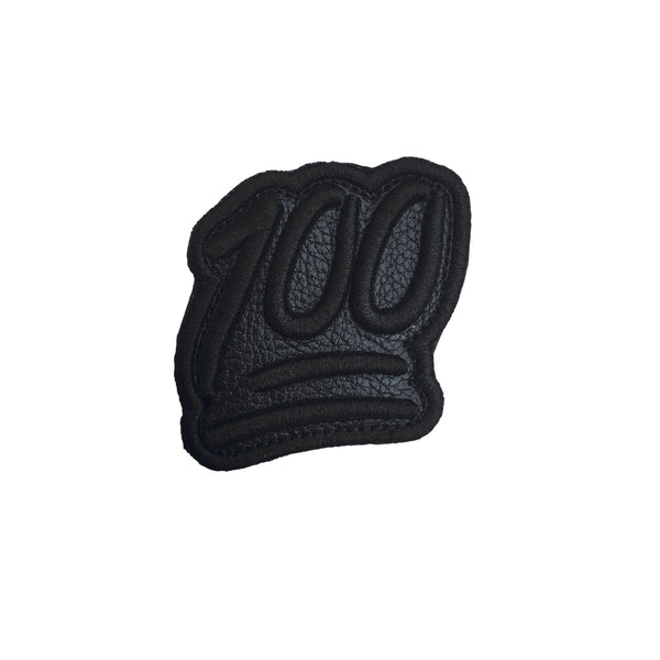100 Emoji Black Leather Velcro Patch (CapSlap)