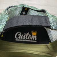 Velcro Baseball Cap in Green with Camo Mesh (includes 1 x FREE Velcro Patch)