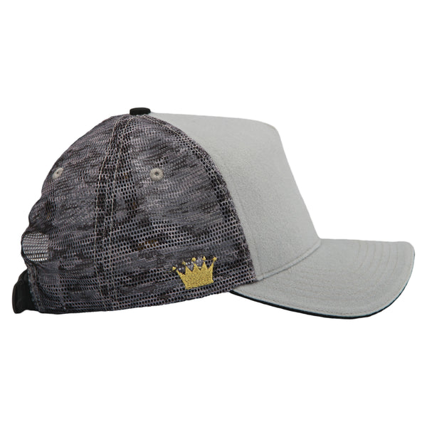 Velcro Baseball Cap in Grey with Camo Mesh (includes 1 x FREE Velcro Patch)