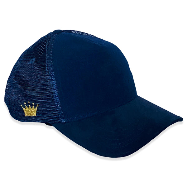 Velcro Baseball Cap in Navy Blue Suede + Navy Mesh (includes 1 x FREE Velcro Patch)