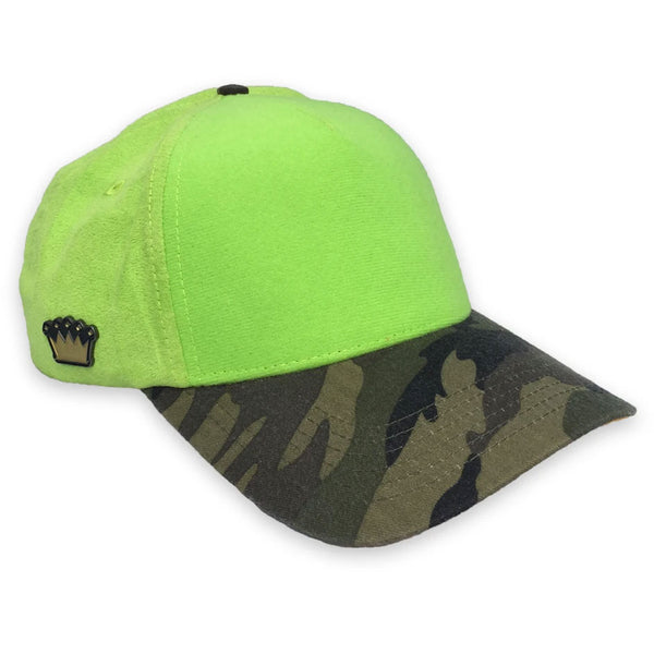 Velcro Baseball Cap in Lime Green Suede & Camo (includes 1 x Velcro Patch) #capbuilder