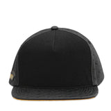 Velcro Snapback in Black Leather with Deboss Logo (includes 1 x FREE Velcro Patch)