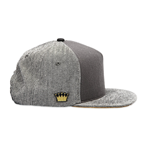 Velcro Snapback in Grey Herringbone (includes 1 x FREE Velcro Patch)