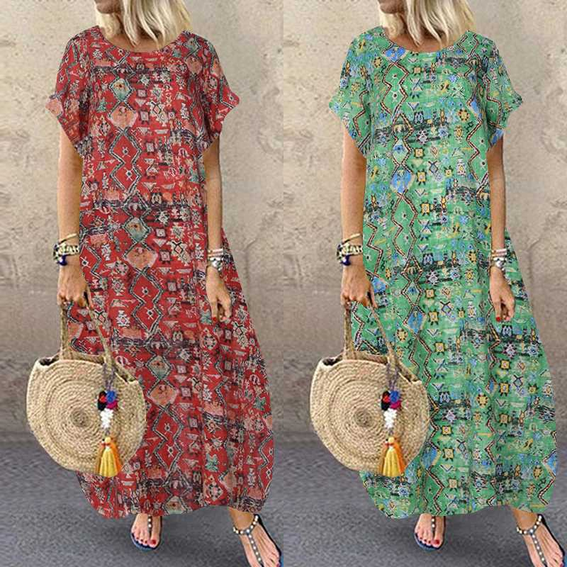 Vintage Printed Maxi Dress Women's Sundress ZANZEA 2020 Casual O Neck Short Sleeve Tunic Vestidos Plus Size Floral Party Robe