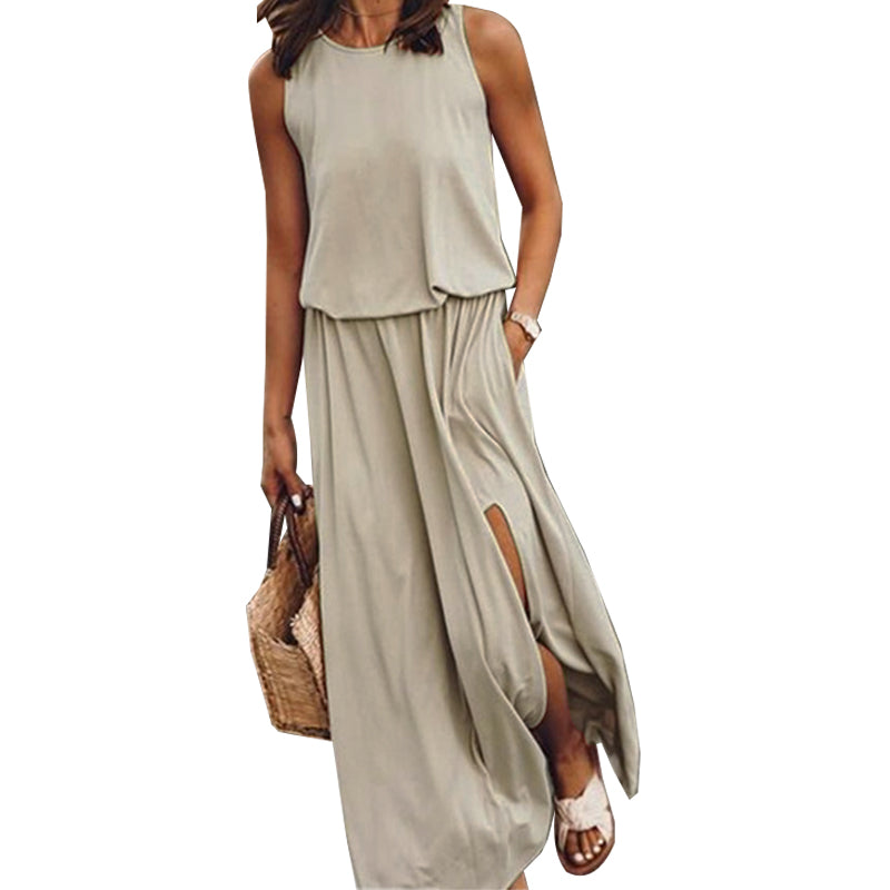 VICABO Fashion 2020 Women Dress Summer Long Split Sleeveless ladies Dress Casual Sexy Women's Dresses Plus Size