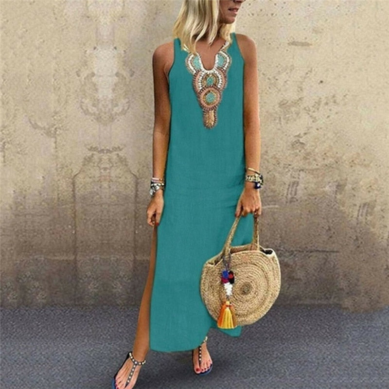 Laamei 2020 Summer Women's Long Dresse Fashion Casual Sleevelesss Maxi Dress Sundress V-Neck Party Dress Bohemian Dress Vestido