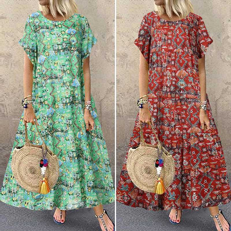 ZANZEA 2020 Women's Maxi Sundress Vintage Summer Printed Dress Casual Short Sleeve Tunic Vestidos Female O Neck Robe Oversized
