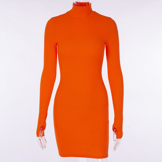 Women's turtleneck Solid Color Dress with Long sleeves Ms. Hip Close-Fitting Dress