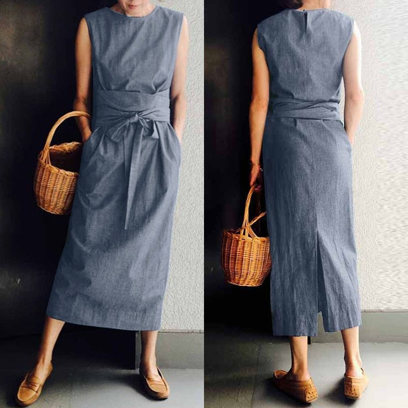 Women's Summer Split Sundress 2020 ZANZEA Fashion Maxi Dress Casual Solid Sarafans Vestidos Belted Solid Robe Femme Plus Size