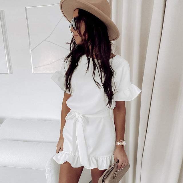 Women Summer Dress 2020 Sashes Solid Ruffle Woman Dresses for women Short Sleeve Dresses O Neck Casual Summer Sundress Female