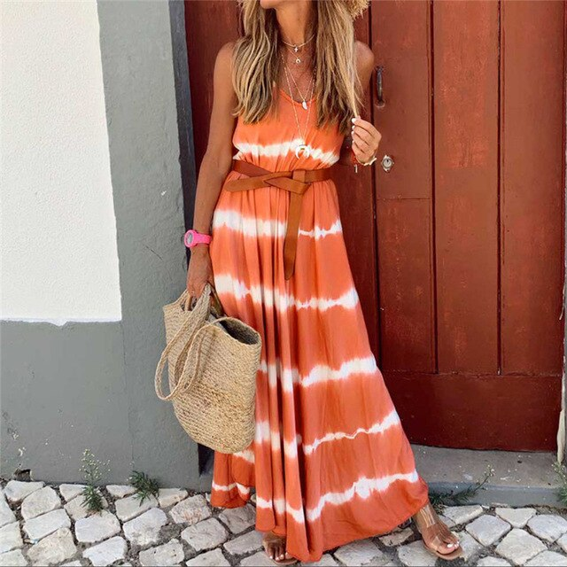 Summer Women's Loose Tie Dyeing Gradual Sleeveless Print O-neck Long Maxi Dress Plus Size Vestidos Dropshipping Robe Femme M10