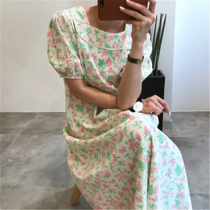Women's Vintage Dresses Sweet Puff Short Sleeve Printed Dress Square Collar Casual Long Dress Chic Elegant Summer 2020