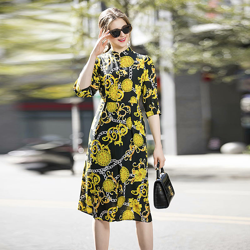 Gorgeous High Quality Summer 2020 New Women'S Fashion Party Casual Vintage Elegant Chic Gentlewoman Printed Silk Midi Dress