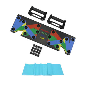 1 Set Push Up Rack Board 9 in 1 Gym Body Building Fitness Exercise Tools Men Women Push-up Stands with 150cm Resistance Band