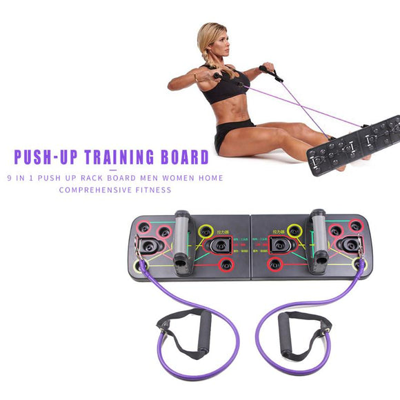 Push Up Rack Board with Resistance Band Comprehensive Fitness Training Tool Body Building Training System Home Equipment