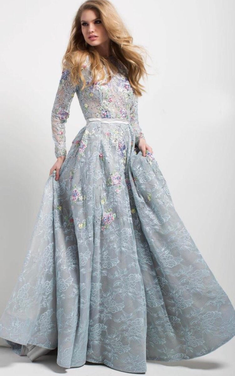 Multifloral Lace Embroidered Longe Sleeve Evening Gown