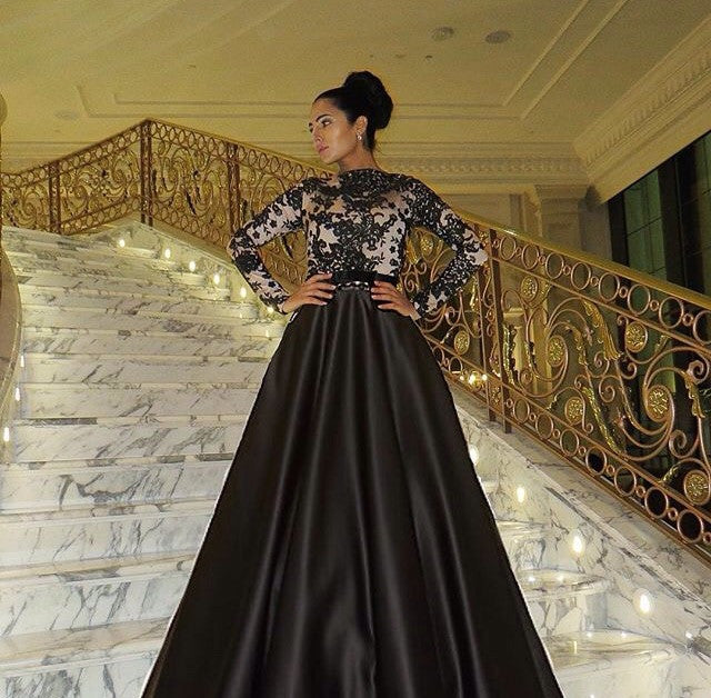 Black Laced Bouffant Ball Gown