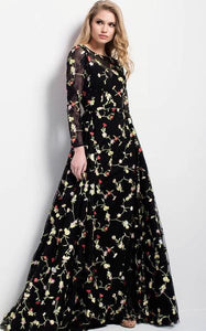 Embroidered Floral Ecstasy Evening Gown